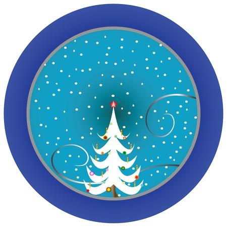 christmas tree blue medallion, vector art illustration Vector