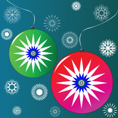 christmas globes red and green, vector art illustration Vector