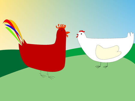 chicken and rooster drawing, vector art illustration; more drawings in my gallery Vector