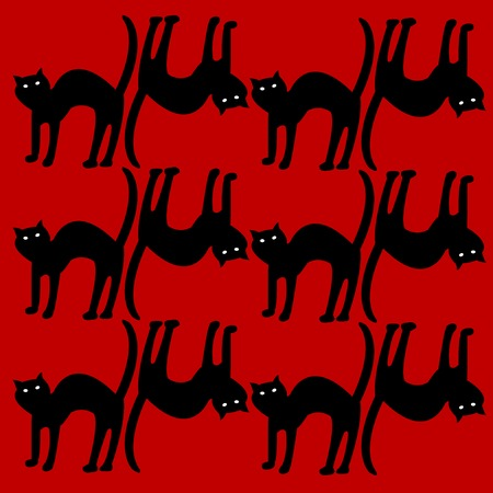 cat pattern isolated on red, vector art illustration Stock Vector - 6130568
