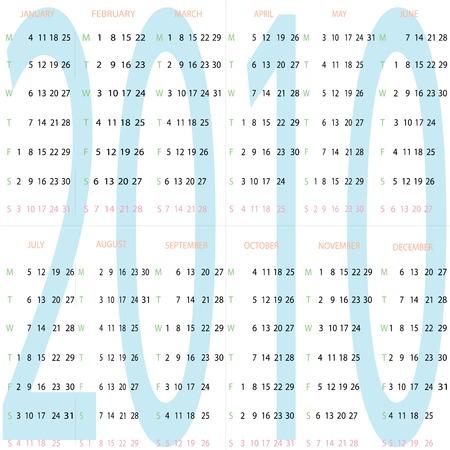 calendar 2010, vector art illustration Stock Vector - 6130577