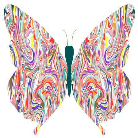 butterfly in abstract colors, vector art illustration, more drawings in my gallery
