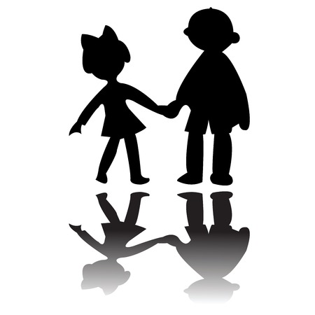 girls holding hands: boy and girl silhouettes, vector art illustration; more drawings in my gallery