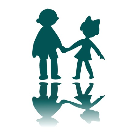 boy and girl blue silhouettes, vector art illustration, for more drawings please visit my gallery Фото со стока - 6130672