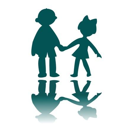 Garçon et silhouettes bleues girl, vector art illustration, pour plus de dessins s'il vous plaît visiter ma galerie Banque d'images - 6130672