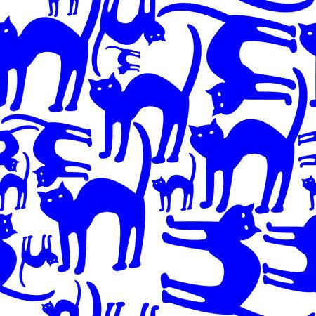 青猫パターン ベクトル アート イラスト白で隔離されます。