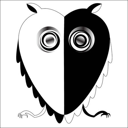 black and white owl, vector art illustration; more drawings in my gallery Vector