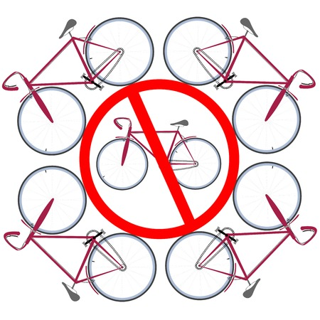 bicicles not allowed here. Vector art illustration.