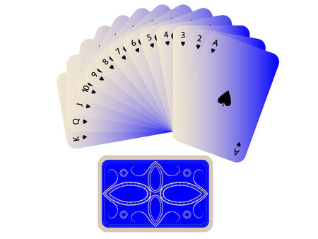 spades cards fan with deck isolated on white, abstract art illustration Illustration
