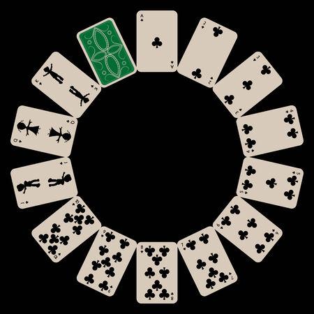 Kreis Form Clubs Spielkarten auf Schwarz, abstrakte Kunst Illustration isoliert Standard-Bild - 6159588