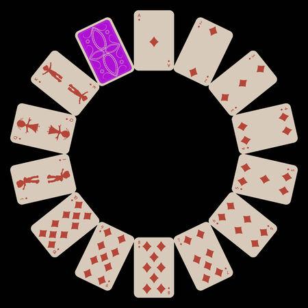 Kreis Form Diams Spielkarten auf Schwarz, abstrakte Kunst Illustration isoliert Standard-Bild - 6159585