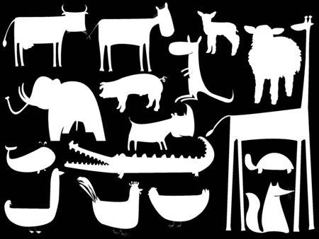 animal white silhouettes isolated on black, vector art illustration