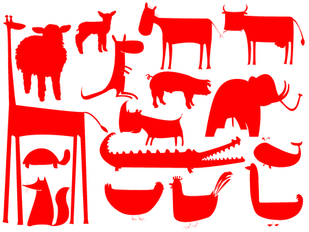 animal red silhouettes isolated on white background, vector art illustration 向量圖像