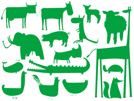 sea cow: animal green silhouettes isolated on white, vector art illustration