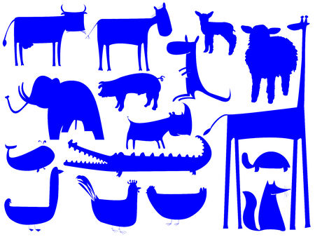animal blue silhouettes isolated on white, vector art illustration; easy to change colors Vector