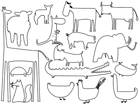 sea cow: animal black and white silhouettes isolated on white, vector art illustration
