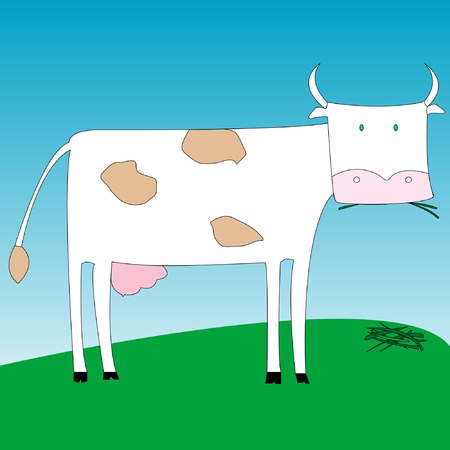 a cow eating grass, vector art illustration. more drawings in my gallery