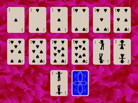 Farbe der Pikdame Spielkarten auf lila Hintergrund, abstrakte Kunst-Abbildung Standard-Bild - 6177219