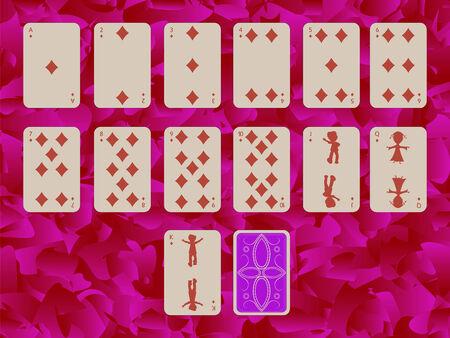Farbe des Diams Spielkarten auf lila Hintergrund, abstrakte Kunst-Abbildung Standard-Bild - 6177213