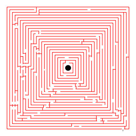 square red maze, abstract art illustration Vector