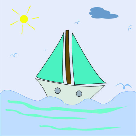 ship sailing, vector art illustration