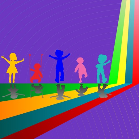 silhouettes of children playing on purple background, abstract art illustration Vector