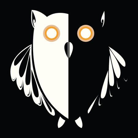 retro owl in the night, abstract art illustration Illustration