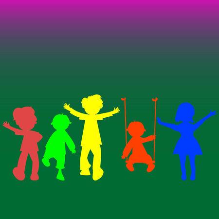 retro little kids silhouettes, abstract art illustration