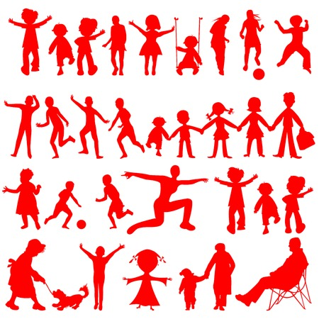 peoples red silhouettes isolated on white background, abstract art illustration Vectores