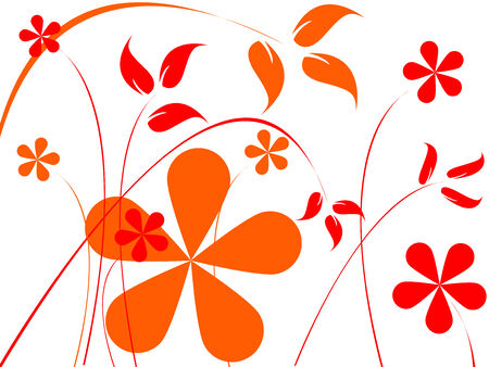 orange and red flowers composition, abstract art illustration