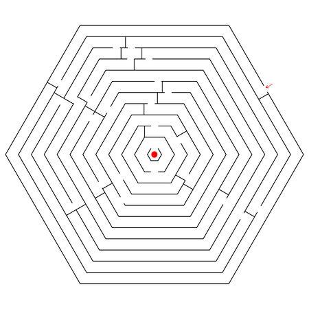 hexagonal black maze; abstract art illustration Vector