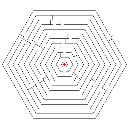 hexagonal black maze; abstract art illustration