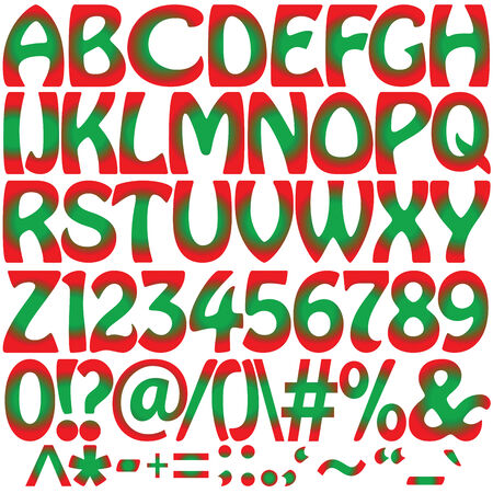 green and red alphabet, vector art illustration; more alphabet letters in my gallery