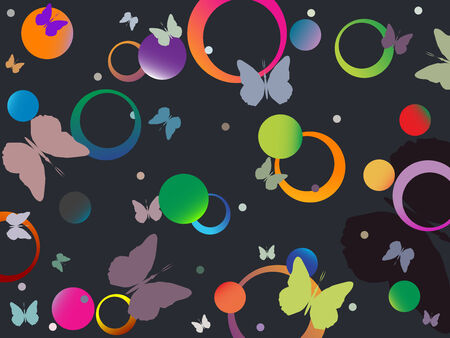 butterflies and bubbles in retro colors, abstract art illustration Vector