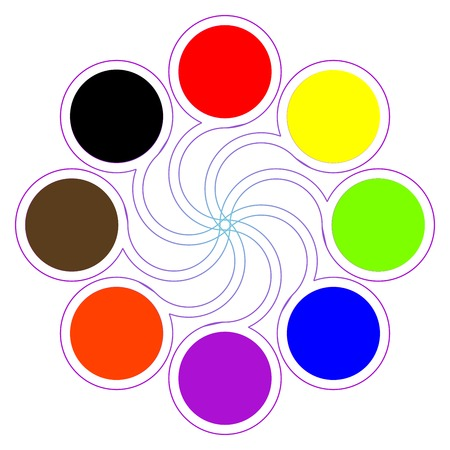 color guide: round color palette with eight basic colors isolated on white; abstract art illustration