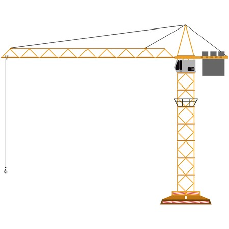 building inspector: toy crane isolated on white, abstract art illustration Illustration