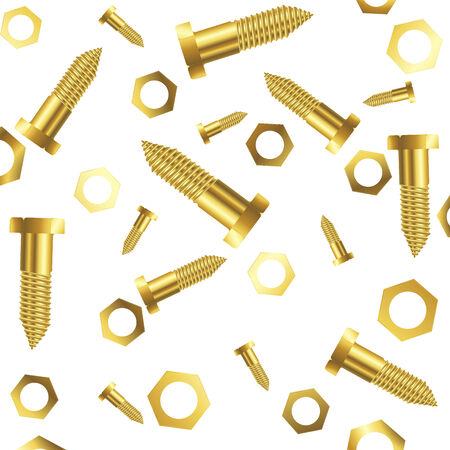 screws and nuts over white background, abstract art illustration Vector