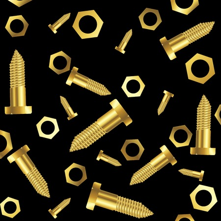rivet: screws and nuts composition over black background, abstract art illustration