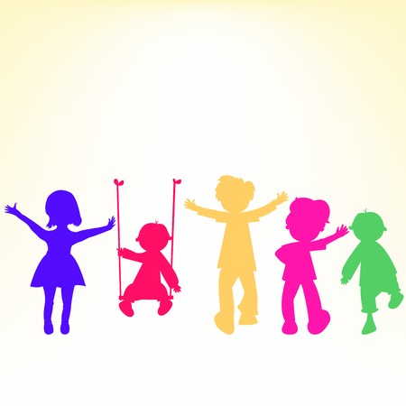 retro little kids silhouettes over shiny background, abstract art illustration