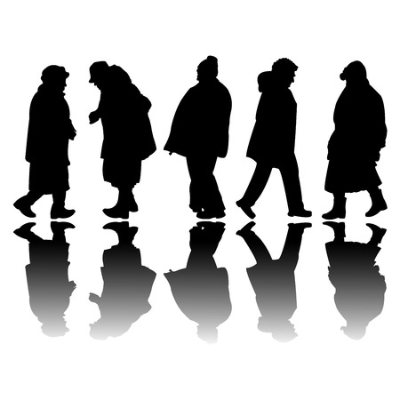 old people black silhouettes, abstract art illustration Vector
