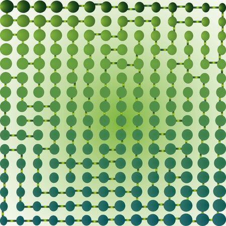 half tone green maze; abstract art illustration Vector