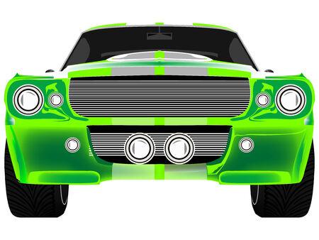 scheinwerfer: gr�n Sport Auto Front isolated on white, abstrakte Kunst-Abbildung