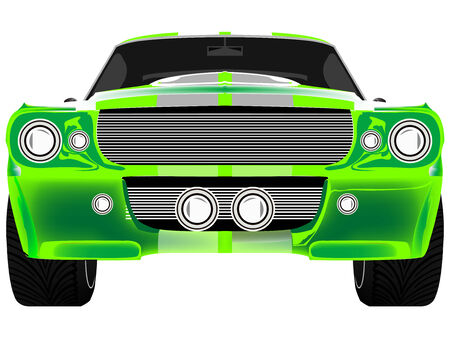 green sport car front isolated on white, abstract art illustration 矢量图像