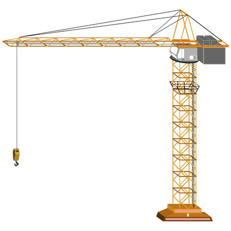 building activity: tridimensional crane drawing, isolated on white background; abstract art illustration