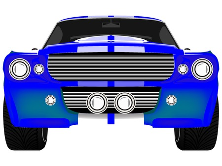 bumper: blue sport car front isolated on white, abstract art illustration Illustration