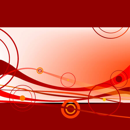 red waves and circles, abstract art illustration