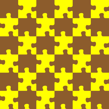 puzzle brown and yellow colors, seamless abstract texture; art illustration