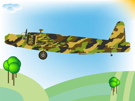 old military airplane flying; abstract art illustration