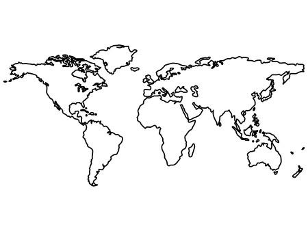 zwarte wereld kaart contouren geïsoleerd op wit, abstracte kunst illustratie