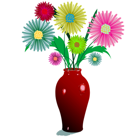 flowers and vase composition, isolated on white; abstract art illustration